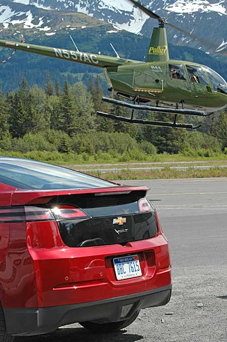 Chevy Volt with helicopter